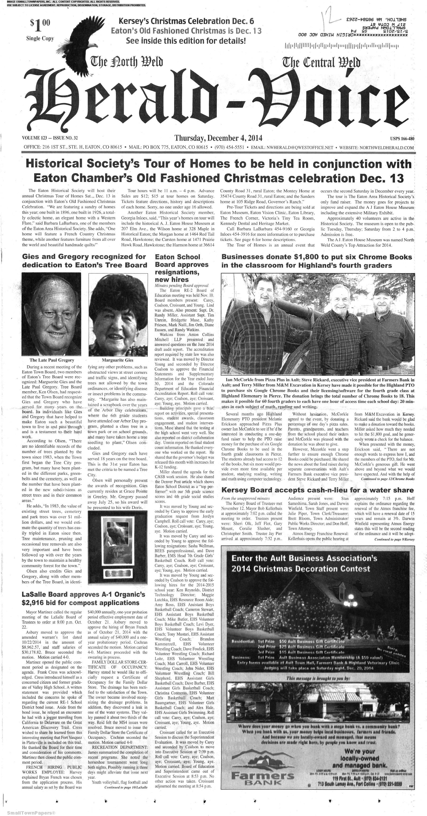 Eaton Co Old Fashioned Christmas 2020 The North Weld Herald Voice December 4, 2014: Page 1